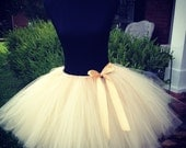 """Beige (Champagne) Bridal Tutu for waist up to 34 1/2"""" great for Jr. Bridesmaid, Teens, Bridesmaids, Bachelorette parties, Mommy and me pics"""