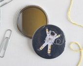 Spaceman Pocket Mirror, Navy Blue Space Themed Compact Mirror, Astronaut Illustrated Design, 58mm Mirror, Stocking Filler, Gifts for Kids