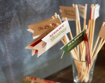 Christmas Holiday Drink Flags - Stirrers - Cupcake Toppers