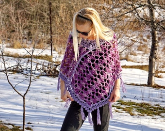 Violet white and pale purple lilac folk knitted and crochet wool poncho shawl