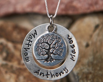 "Personalized Sterling Silver 1"" Family Tree hand stamped necklace with 1,2,3 or 4 childrens or grandchildrens names"