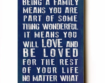 Being A Family - navy planked wooden art sign wall decor