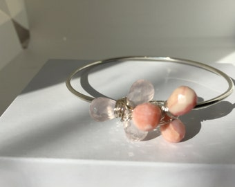 Rose Quartz, Pink Opal, Sterling Silver Bangle, Lilyb444, Jewelry, GiftsforHer,