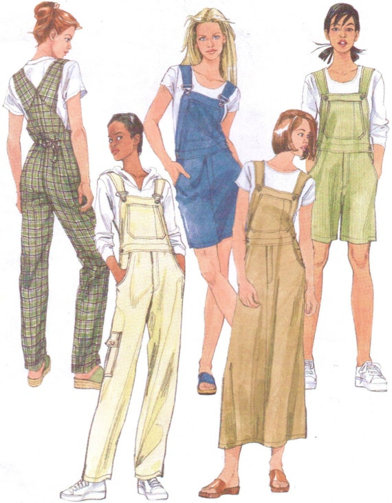 90s McCalls Sewing Pattern 2244 Womens Overalls and Jumper in
