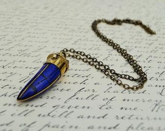 Blue Lapis TIBETAN HORN Mosaic inlay pendant NECKLACE / lapis and brass /  lapis tusk pendant / Bohemian / Tribal / Boho Chic / Trendy /