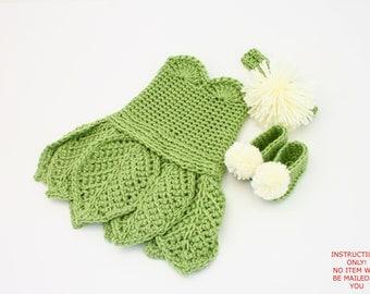 PDF DIGITAL PATTERN:Baby Tinkerbell Costume Pattern,Crochet Baby Dress Pattern,Crochet Tinkerbell Dress,Newborn Baby Dresses,Green Dress