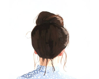 "8x10"" hair art - bun print - ""Top Knot 40"""