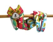 Neck Shoulder Microwave Heat Pack Cold Pack - Flat Cat Rice Heat Cold Pack Microwavable - Green Red Blue White Christmas Fabric Cat #1