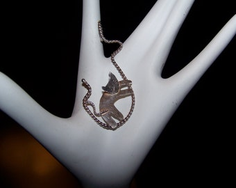 Sale ~ Large Kitty Cat On A Rope  Sterling Silver 925 Pendant - Vintage Jewelry  Signed ND LOEFFLER