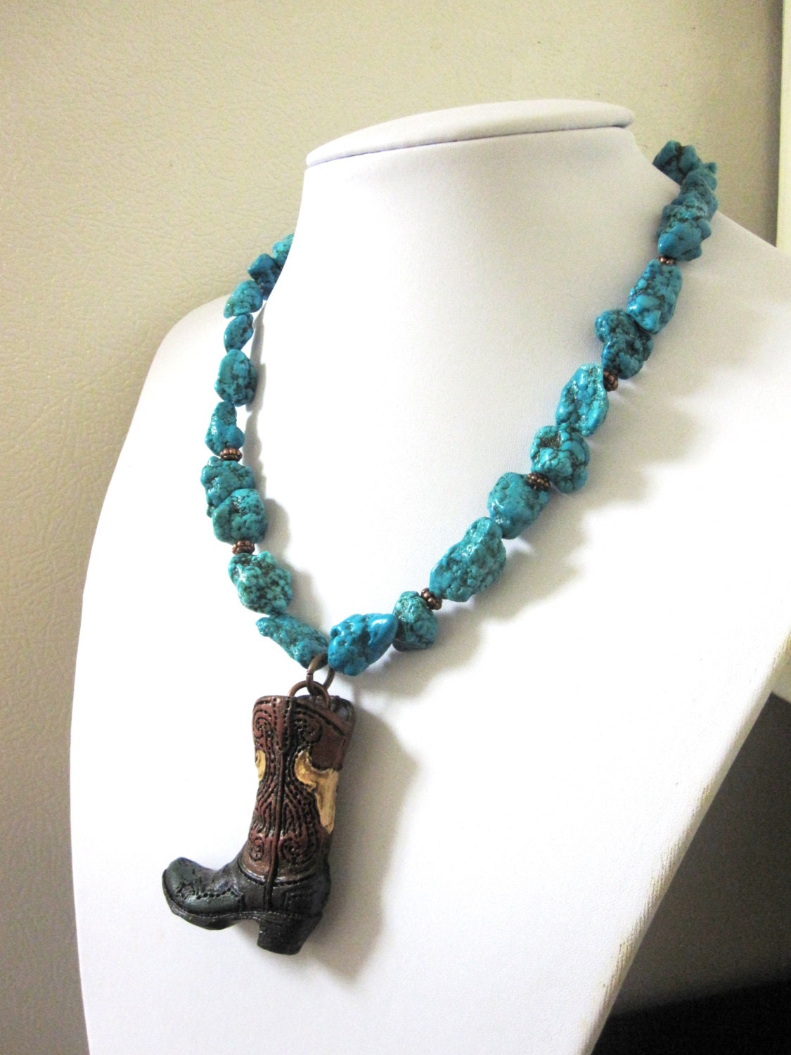 cowboy boot necklace western jewelry chunky turquoise blue
