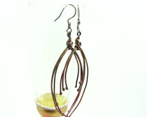 Rustic Jewelry Hand Forged Copper Wire Wrapped Handmade Long Dangle Earrings Torch Patina