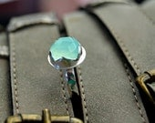 Aqua chalcedony ring, rosecut stone, cocktail ring, sterling band, gemstone ring