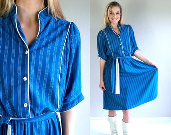 vtg 80s teal WIDE SLEEVE white striped DRESS Medium/Large blouson disco belted dolly indie batwing