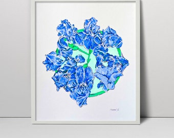 "Original Serigraph Irises Screen Print Hand Printed 15"" silkscreen printing fine art painting floral blue flowers still life nature"