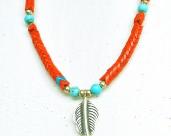 Coral Turquoise Bohemian Leaf Necklace in Silver - Ethnic Feather Necklace - Coral Orange Beaded Necklace