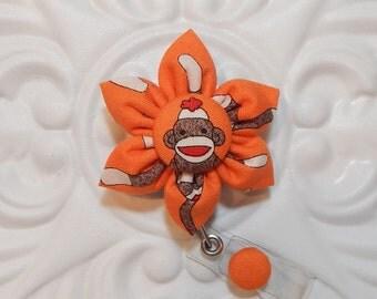 Retractable Badge Holder - Id Badge Reel - Badge Holder - Teacher Lanyard - Cute Sock Moneky - Orange