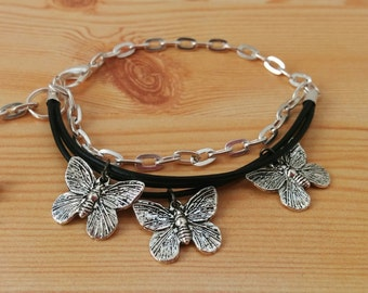 Butterfly bracelet, butterfly cuff, butterfly jewelry, leather cuff, leather bracelet, leather butterfly cuff, black cuff, black butterfly