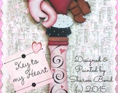 E PATTERN - Key to My Heart - Fancy Key with Ribbon & Swirls - LARGE! Designed and Painted by Sharon Bond - FAAP