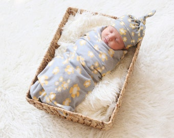 Floral Knotty Hat and Blanket - Baby Girl - Gray with Yellow Flowers -  Organic Baby Swaddle Blanket and Matching Hat