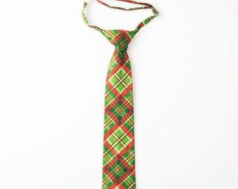 Baby Christmas Tie - Red and Green Plaid - Boys Christmas Tie