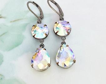 Crystal Drop Earrings Crystal AB Rhinestone Dangle Earrings April Birthstone Gift Idea Bridesmaid Jewelry Prom Statement Earrings
