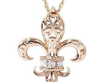 """0.11CT Vintage Fleur De Lis Pendant 14K Rose Gold 1"""" Tall, Vintage Fleur, Pendant, Rose Gold, Vintage Pendant, Diamond Pendant, Rose Gold,"""