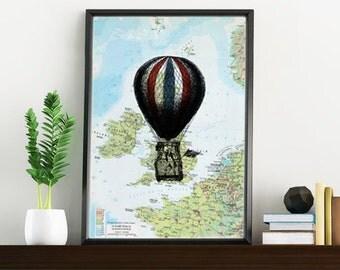 original Map, UK balloon Print over original map Print on vintage original map, balloon art over map, Old map print TVH145