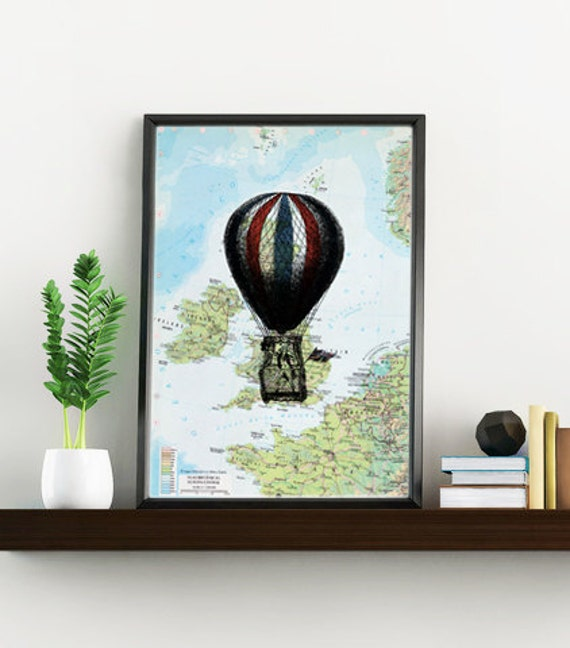 Decorative art original Map, UK balloon Print over original map Print on vintage original map, balloon art over map, Old map print BPTV145x
