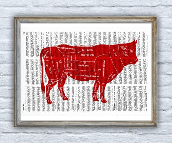 Spring Sale Cuts of Beef Dictionary Book Print Altered art  Wall art print, beef cuts art, kitchen wall decor, art print BPAN158