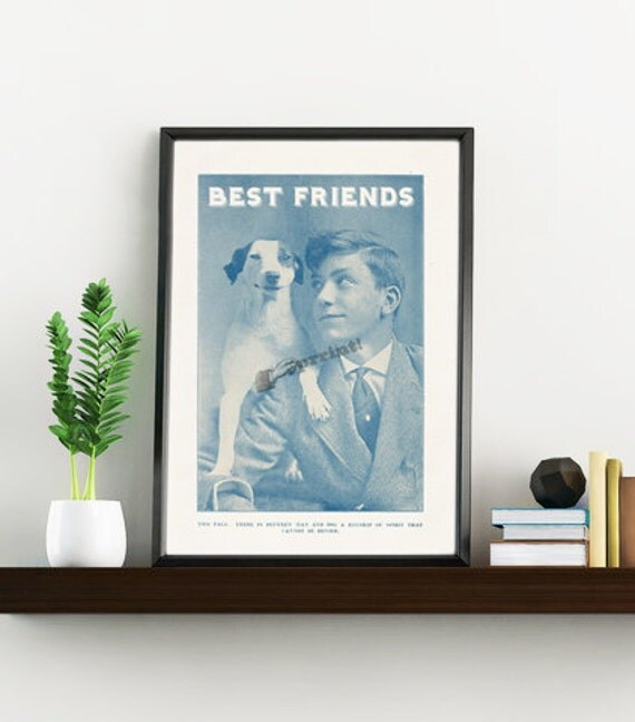Best freinds, Dog and boy vintage image, Dog Print , Gift, Art Wall Decor, wall art printed on white paper ANI130WA4