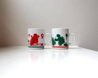 Vintage Santa Claus Mrs. Claus Christmas Mugs Cups Retro Pair Cute Collectible