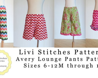 Avery Lounge Pants Pattern- INSTANT DOWNLOAD PDF Pattern and Tutorial- Shorts Pattern- Capri Pants Pattern- Ruffle Pants Pattern
