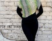 Summer Crochet Sweater, Asymmetric Crochet Top Pattern, Green Crochet Sweater Pattern, Crop Top Pattern, instant Download