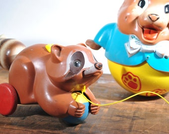 Vintage Raccoon Pull Toy Fisher Price 70s Wildlife Rolling Baby