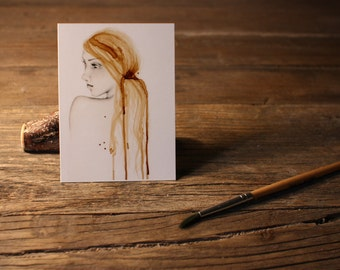 """Art ACEO Print """"So Far Away"""" Fine Art ACEO Print of my original Coffee Staining Pencil Drawing Collectible Mini Artwork Gift for Her"""