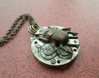 Steampunk Neo Victorian Japanese Beetle Bug Key Necklace II