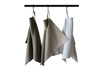 Natural linen towels set, Soft linen tea towel, White linen towel, Neutral towels for kitchen, Linen hand towel set, Cotton blend towel