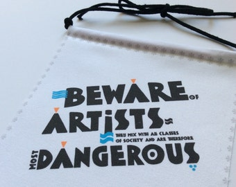 Modern Prayer Flag, Beware of Artists, Artistic, Graphic Art, Wall Hanging, Quote