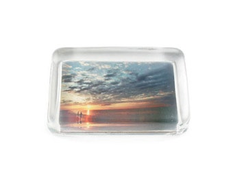 Glass Paperweight, Surfcasting, Sunset on the Atlantic Ocean, Gift For Him, Fine Art Print Decoupaged on Crystal Glass, Handmade Gifts