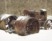 Tractor, Winter Idle, Antique Tractor, Photography Prints, 6x9 + More Sizes, Rusty Brown, Farm Equipment, Machinery, Wall Art, Home Decor