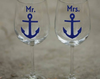 Mr. Mrs. anchor wine glasses (2) boat anchor, nautical themed wine glass design for bride and groom wedding, navy blue, newlyweds, christmas