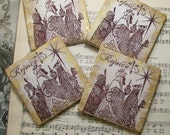 Holiday Decor Christmas Decor Coasters Antiqued Religious Silhouette Christmas Coasters Set of 4 Rejoice Three Kings Three Wise Men The Magi