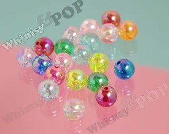 30 - MIXED Color Transparent AB Gumball Beads, Transparent Acrylic Round Beads, 10mm Beads, 1mm Hole (R8-235,C1-19)