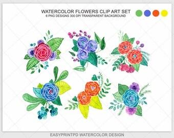 Watercolor Flowers clipart, Watercolor Flowers, Flowers Clipart, Floral Clipart, Digital Watercolor, Digital Scrapbook Floral Illustration