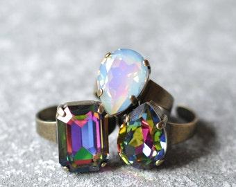 Dark Rainbow White Opal Cocktail Ring Swarovski Crystal Jewel Tone Rainbow Pear Rectangle Emerald Cut Adjustable Cocktail Ring Mashugana