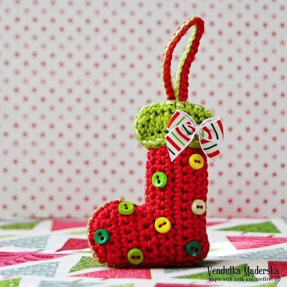 Christmas socks ornament - crochet pattern DIY