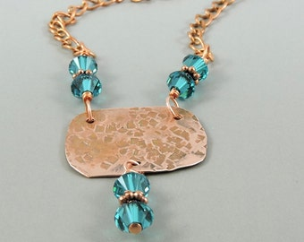 Hammered Copper Necklace with Blue Zircon Swarovski Crystals, Swarovski Necklace, Crystal Elements, Copper Jewelry, Swarovski Jewelry