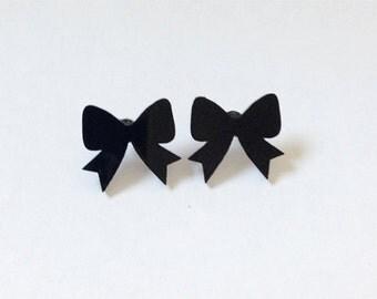 Laser Cut Bow Stud Earrings Black