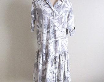 Plus Size Cotton Dress, 80s Drop Waist Print Dress