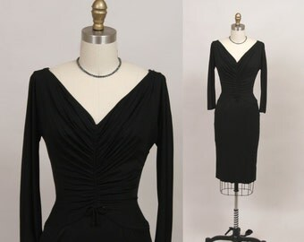 1960's cocktail dress in slinky noir